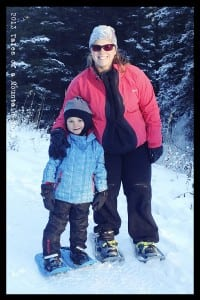 J and I snowshoeing together in the Tubbs Flex Series
