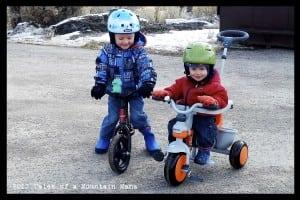 Two happy boys on their bikes