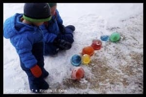 Ice Marbles - Balloons off and ready to place them!