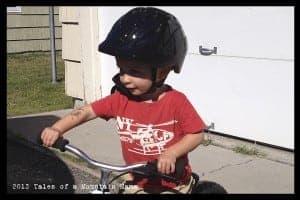 P wearing the Noodle helmet