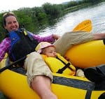 Amy and her daughter packrafting