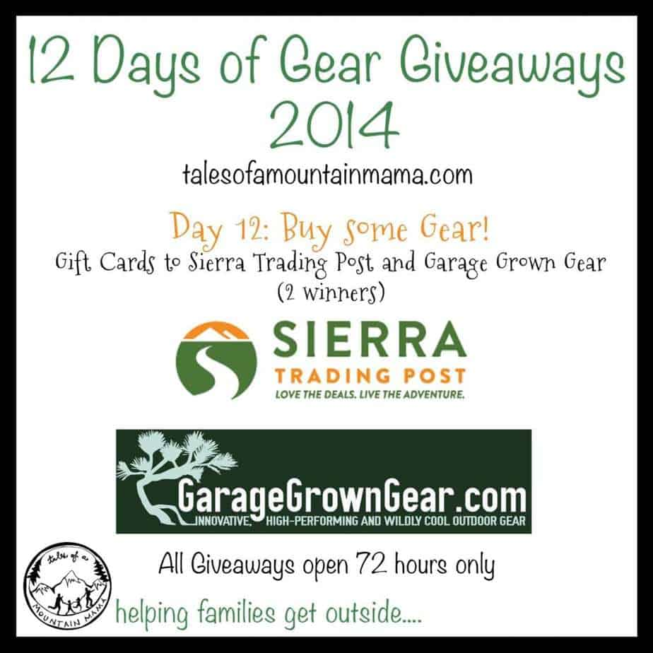 12 Days of Gear Giveaways: Day 12 - Gift Cards from Sierra Trading Post and Garage Grown Gear!