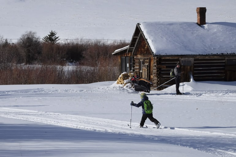 Skiing into a Cabin at the B Bar Ranch