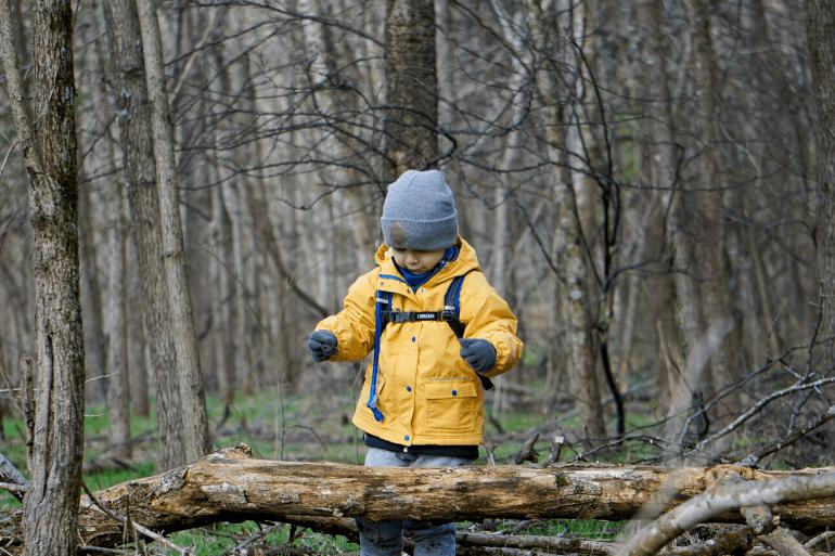 Kid hiking with Camelbak Mini MULE hydration backpack