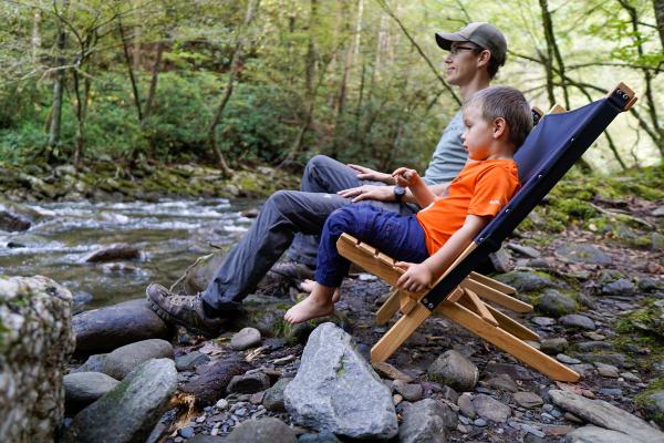 Blue Ridge wooden chair, camping chair