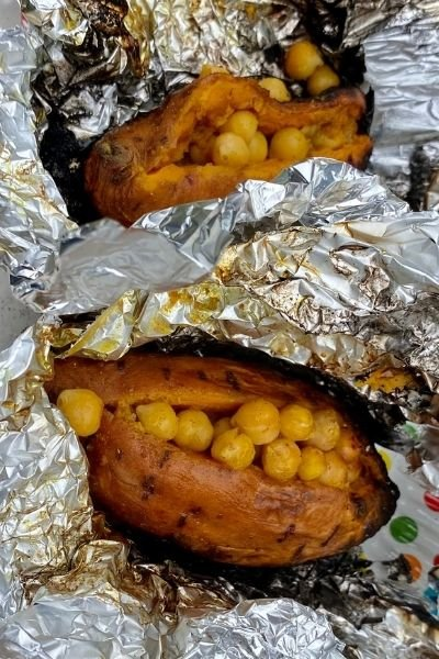 Baked Sweet Potatoes with Coconut Curry Chickpeas