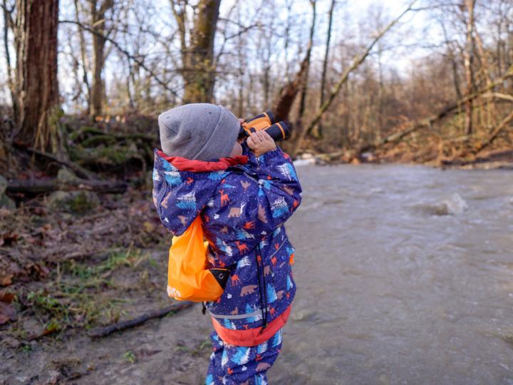 Use binoculars on hikes with kids